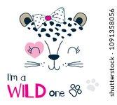 cute wild cat face vector... | Shutterstock .eps vector #1091358056