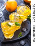 orange cocktail with ice and... | Shutterstock . vector #1091361980