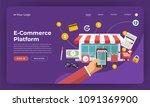 mock up design website flat... | Shutterstock .eps vector #1091369900