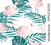 exotic pink flamingo birds rose ... | Shutterstock .eps vector #1091376233