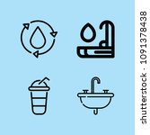 outline water icon set such as... | Shutterstock .eps vector #1091378438