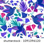 vector seamless pattern with... | Shutterstock .eps vector #1091396120