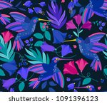 vector seamless pattern with... | Shutterstock .eps vector #1091396123
