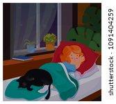 kid girl sleeping in her... | Shutterstock .eps vector #1091404259