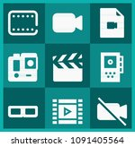 filled movie icon set such as... | Shutterstock .eps vector #1091405564
