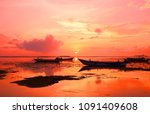 bright dawn on the shore of the ...   Shutterstock . vector #1091409608