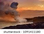 lava pouring into the ocean... | Shutterstock . vector #1091411180