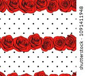 abstract roses polka dot... | Shutterstock .eps vector #1091411948
