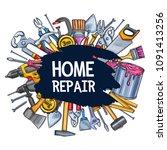 home repair sketch vector... | Shutterstock .eps vector #1091413256
