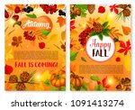 autumn and happy fall is coming ... | Shutterstock .eps vector #1091413274