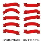 red ribbons set. red banners.... | Shutterstock .eps vector #1091414243