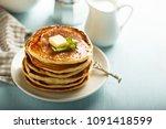 homemade pancakes with orange ... | Shutterstock . vector #1091418599