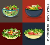 set of differents salads in... | Shutterstock .eps vector #1091419886