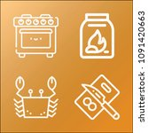 cook icon set   outline... | Shutterstock .eps vector #1091420663