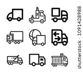 lorry related set of 9 icons...   Shutterstock .eps vector #1091428988