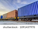 container freight train.   Shutterstock . vector #1091437970