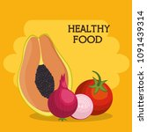 fruits and vegetables healthy... | Shutterstock .eps vector #1091439314