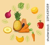 fruits and vegetables healthy... | Shutterstock .eps vector #1091439359