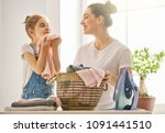 beautiful young woman and child ... | Shutterstock . vector #1091441510