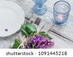 rustic table setting with lilac ... | Shutterstock . vector #1091445218