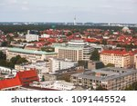 Stock photo beautiful super wide angle summer aerial view of hannover germany lower saxony seen from 1091445524