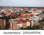 Stock photo beautiful super wide angle summer aerial view of hannover germany lower saxony seen from 1091445554