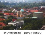 Stock photo beautiful super wide angle summer aerial view of hannover germany lower saxony seen from 1091445590