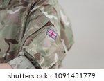 MIHAIL KOGALNICEANU, ROMANIA - APRIL 27, 2018: British flag on a Royal Air Force soldier - stock photo