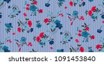 seamless floral pattern in... | Shutterstock .eps vector #1091453840