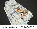 dollars money cash on black... | Shutterstock . vector #1091456690