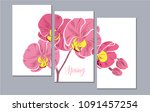 a set of 3 canvases for wall... | Shutterstock .eps vector #1091457254
