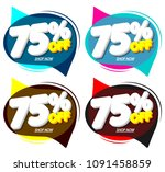 set sale tags 75  off  speech... | Shutterstock .eps vector #1091458859