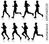 set of silhouettes. runners on... | Shutterstock .eps vector #1091460110