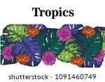 tropical  background  ...   Shutterstock . vector #1091460749