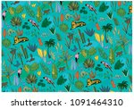 jungle nature repeatable pattern | Shutterstock .eps vector #1091464310