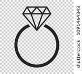 engagement ring with diamond...   Shutterstock .eps vector #1091464343