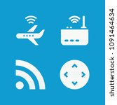 wireless related set of 4 icons ...   Shutterstock .eps vector #1091464634