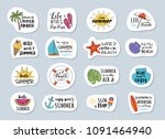 funny summer calligraphy with... | Shutterstock .eps vector #1091464940