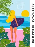 Poster With Surfer Girl With...