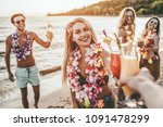 cheers  group of young... | Shutterstock . vector #1091478299