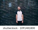 hipster man with beard wearing... | Shutterstock . vector #1091481800