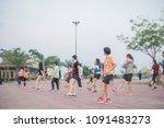 evening activities men with... | Shutterstock . vector #1091483273