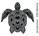 graphic sea turtle | Shutterstock .eps vector #1091484416