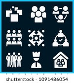 set of 9 group filled icons... | Shutterstock .eps vector #1091486054