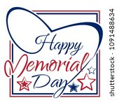 happy memory day lettering card ... | Shutterstock .eps vector #1091488634