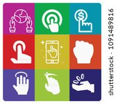 filled set of 9 hand icons such ... | Shutterstock .eps vector #1091489816
