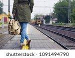 traveler woman holding a... | Shutterstock . vector #1091494790