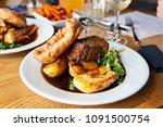 vegetarian dinner with nut... | Shutterstock . vector #1091500754