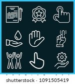 set of 9 hand outline icons... | Shutterstock .eps vector #1091505419