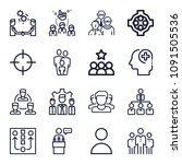 set of 16 group outline icons... | Shutterstock .eps vector #1091505536